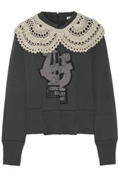 Marc Jacobs Crochet Trimmed Appliqued Wool Blend Sweater Dark Gray