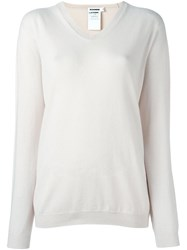 Jil Sander V Neck Jumper Pink And Purple