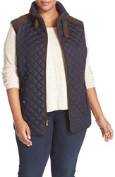 Gallery Plus Size Women's Quilted Vest With Faux Suede Trim Night Indigo