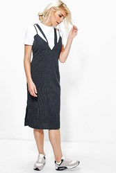 Boohoo Pinstripe V Neck Strappy Slip Dress Navy