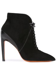 Santoni Lace Up Pointed Booties Black