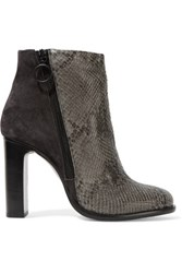 Rag And Bone Avery Snake Effect Leather Suede Boots Gray