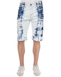 True Religion Dean Tie Dye Distressed Shorts