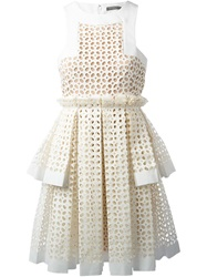 Alexander Mcqueen Laser Cut Box Pleat Dress White