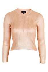 Topshop Foil Pointelle Crop Top Gold