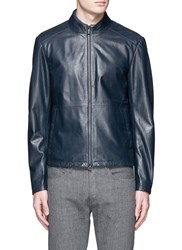 Armani Collezioni Lambskin Leather Blouson Jacket Blue