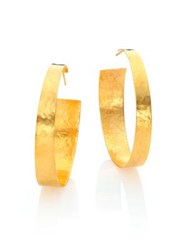 Nest Hammered Hoop Earrings Gold