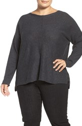 Eileen Fisher Plus Size Women's Organic Linen And Cotton Bateau Neck Sweater Charcoal
