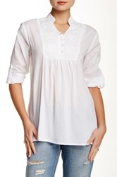 Chaudry Embroidered Trim Blouse White
