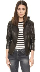 Soia And Kyo Beka Leather Hooded Jacket Black