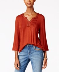 Styleandco. Style Co. Grommet Trim Pleated Top Only At Macy's Rich Auburn