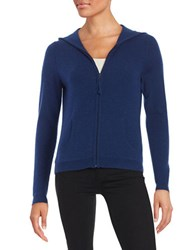 Lord And Taylor Hooded Zip Up Cashmere Sweater Navy Night