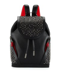 Christian Louboutin Studded Leather Flap Backpack Black