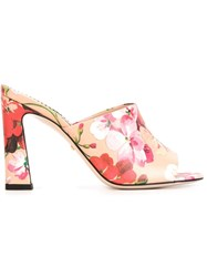 Gucci Floral Print Mules Pink And Purple