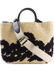 Ermanno Scervino Woven Flower Tote Nude And Neutrals