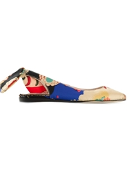 Carven Japanese Flower Print Ballerinas Blue