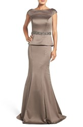 La Femme Women's Fashions Peplum Satin Mermaid Gown