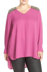 Plus Size Women's Melissa Mccarthy Seven7 Crystal Shoulder Tunic Top