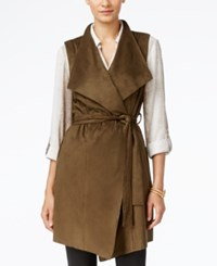 Grace Elements Faux Suede Belted Trench Vest Olive