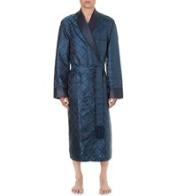 Derek Rose Verona Silk Dressing Gown Teal