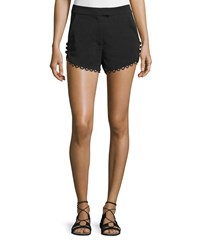A.L.C. Lucas Scalloped Crepe Shorts Black Women's