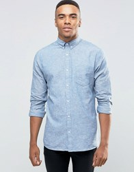 New Look Linen Shirt In Blue In Regular Fit Blue