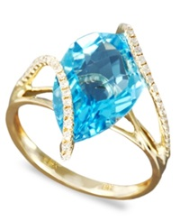 Effy Collection Gemma By Effy Blue Topaz 5 7 8 Ct. T.W. And Diamond 1 5 Ct. T.W. Wrap In 14K Gold