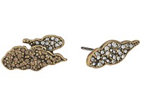 Marc Jacobs Charms Pave Cloud Studs Earrings Crystal Multi Antique Gold