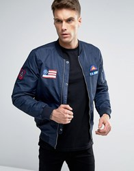 Pull And Bear Pullandbear Bomber Jacket With Badging Detail In Navy Blue