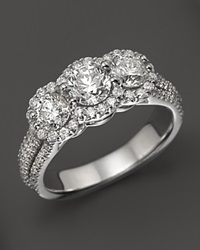 Bloomingdale's Halo Diamond 3 Stone Ring In 14K White Gold 2.0 Ct. T.W. No Color