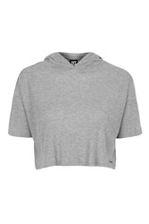 Ribbed Hooded Crop Tee By Ivy Park Light Grey M
