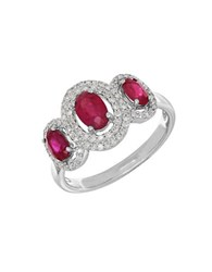Lord And Taylor 14K White Gold Ruby Diamond Ring 0.264 Tcw