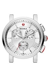 Michele Women's 'Sport Sail Large' Black Dial Watch Case 42Mm Silver