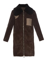 Moncler Gamme Rouge Contrast Shearling Collar Faux Fur Coat
