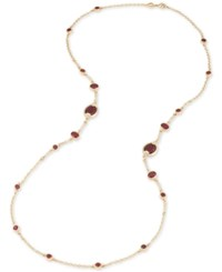 Carolee Gold Tone Burgundy Stone And Pave Long Statement Necklace