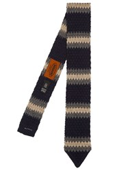 Missoni Wool Knit Tie Navy Multi