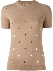 N 21 No21 Embellished Sweater Nude And Neutrals