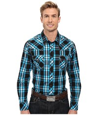 Rock And Roll Cowboy Long Sleeve Snap B2s8416 Turquoise Men's Clothing Blue