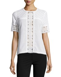 Andrew Gn Short Sleeve Lace Panel Top White