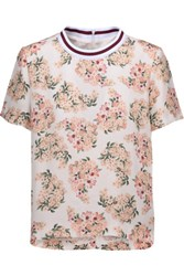 Mother Of Pearl Paget Floral Print Silk Crepe De Chine Top Cream