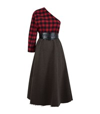 A.W.A.K.E One Shoulder Plaid And Wool Dress Female Red