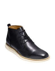 Cole Haan Leather Chukka Boots Black White