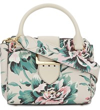 Burberry Floral Small Leather Tote Lime Stone Green