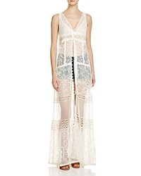 Band Of Gypsies Embroidered Maxi Vest Ivory