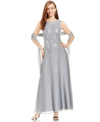 Patra Embellished Popover Gown And Shawl Silver