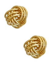 Luna Tagliare 18K Yellow Gold Plated Sterling Silver Love Knot Stud Earrings Metallic