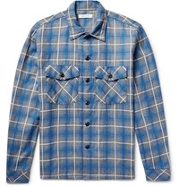 Nonnative Trooper Slim Fit Checked Cotton Blend Shirt Blue