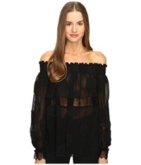 Yigal Azrou L Open Shoulder Smocked Fille Coupe Top Black Women's Clothing