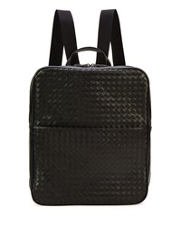 Men's Double Compartment Woven Leather Backpack Black Bottega Veneta