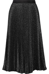 Lela Rose Pleated Metallic Cotton Blend Midi Skirt